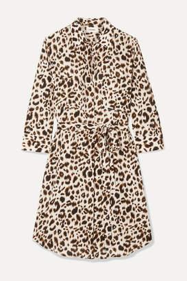 L'Agence Stella Belted Leopard-print Silk Mini Dress - Leopard print