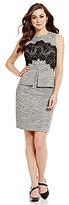 Antonio Melani Billy Crew Neck Sleeveless Tweed & Lace Sheath Dress