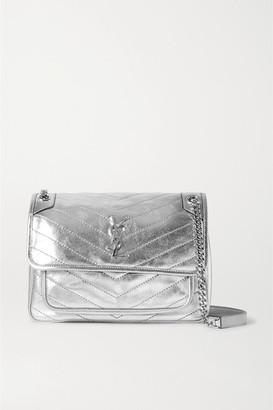 Saint Laurent Niki Medium Quilted Metallic Leather Shoulder Bag - Silver