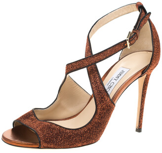 Jimmy Choo Pop Orange Leather Trimmed Lame Fabric Emily Cross Strap Sandals Size 40