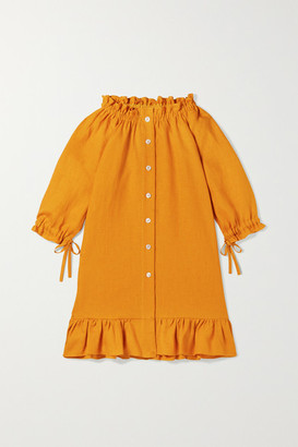 SLEEPER KIDS Ages 2 - 15 Tie-detailed Ruffled Linen Dress