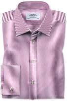 Charles Tyrwhitt Classic Fit Bengal Stripe Purple Cotton Dress Shirt French Cuff Size 15.5/33
