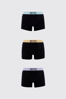 boohoo Mens Black Large MAN Dash 3PK Boxer With Contrast Waistband, Black
