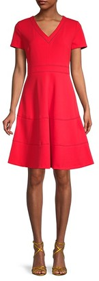 Karl Lagerfeld Paris Scuba Crepe Lace Eyelet-Trim A-Line Dress