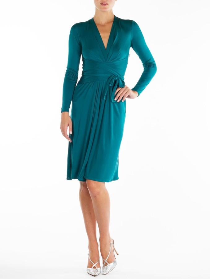 Issa Petrol Silk-Jersey Wrap Dress