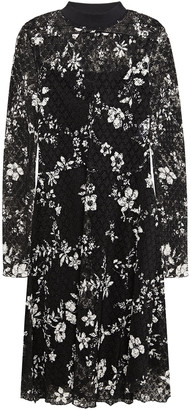 See by Chloe Floral-print Plisse-lace Dress