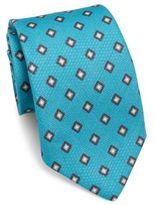 Isaia Large Square-Print Cotton Tie