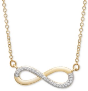 "Wrapped Diamond Infinity 17"" Pendant Necklace (1/20 ct. t.w.) in 14k Gold, Created for Macy's"