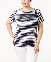 Karen Scott Plus Size Cotton Embellished Firework T-Shirt, Only at Macy's