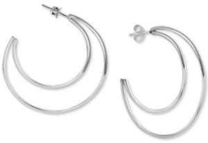 Argentovivo Open Crescent Hoop Earrings in Sterling Silver