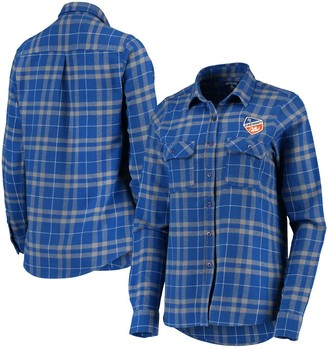 Antigua Women's Blue/Gray FC Cincinnati Flannel Button-Down Shirt
