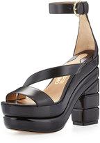 Salvatore Ferragamo Lev Stacked Platform Sandal, Black