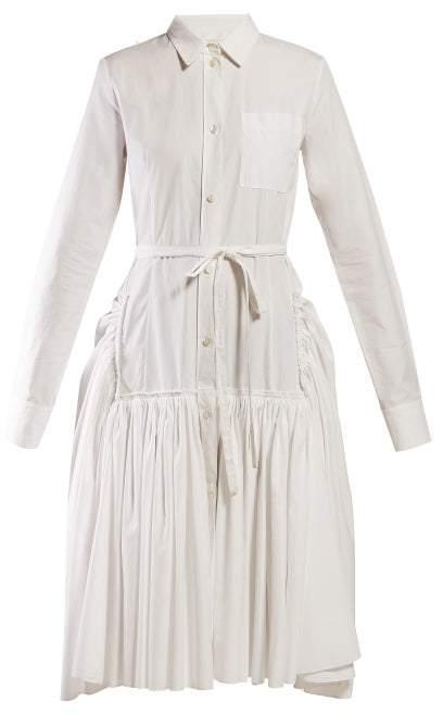Marni Tie Waist Cotton Poplin Shirtdress - Womens - White