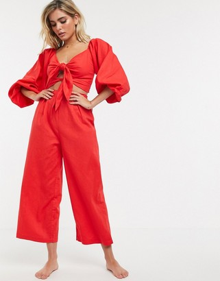 Charlie Holiday beach blouson tie front crop co-ord with culottes in red