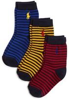 Ralph Lauren Boys' Striped Crew Socks 3 Pack - Sizes 2-4