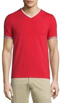 Moncler V-Neck Tape-Tipped Jersey T-Shirt, Red