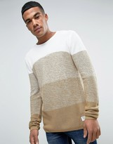 Solid Sweater In Faded Color Block