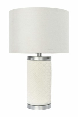 Creative Co-op Raw Concrete Table Lamp with Imprinted Diamond Design and Metal Accents