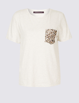 M&S Collection Pure Cotton Sequin Pocket T-Shirt