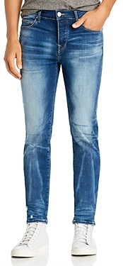 True Religion Rocco Moto Super Stretch Skinny Fit Jeans in Blue