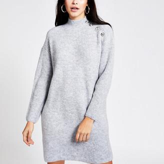 River Island Grey button shoulder knitted jumper dress