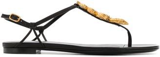 Valentino Snake-Motif Thong-Strap Sandals