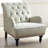 Pier 1 Imports Chas Blue & White Seersucker Armchair