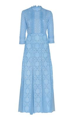 Costarellos Pleated Lace Midi Dress