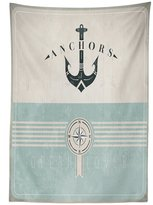 vipsung Nautical Tablecloth Aged Ocean Lover Phrase with Anchor Figure and Compass Marine Adventure Design Dining Room Kitchen Rectangular Table Cover Beige Blue