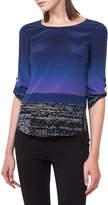 Akris Punto Twilight City Tab-Sleeve Top