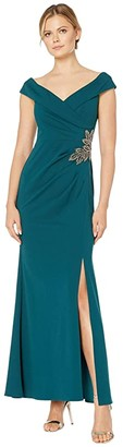 Alex Evenings Long Off-the-Shoulder Fit-and-Flare Dress (Emerald) Women's Dress