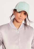 Missguided Faux Suede Baseball Cap Green