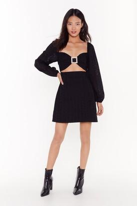 Nasty Gal Womens pearl buckle broiderie dress - Black