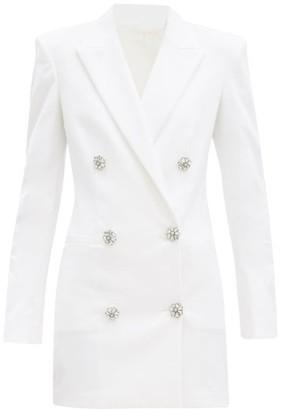 ATTICO Crystal-button Cotton-blend Blazer Dress - Ivory