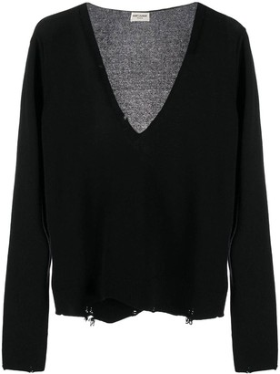 Saint Laurent Black Distressed Cashmere Sweater