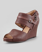 Eileen Fisher Tend Washed Leather Wedge, Bordeaux