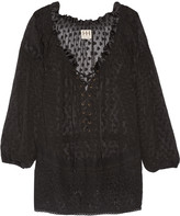 Haute Hippie Embroidered lace-up fil coupé silk top