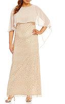 Jessica Howard Plus Capelet Lace Column Gown