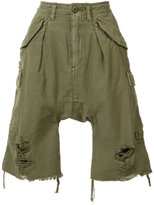 R 13 distressed cargo shorts - women - Cotton - 26