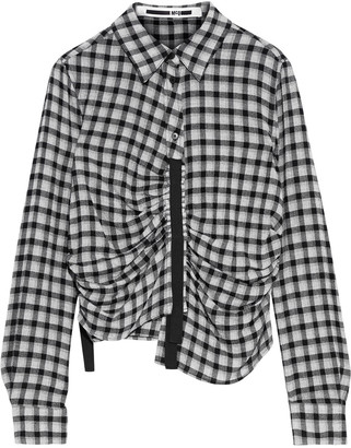 McQ Asymmetric Ruched Gingham Flannel Shirt