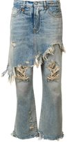 R 13 apron overlay distressed jeans - women - Spandex/Elastane/Cotton - 24