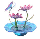 Peaktop Resin Indoor Hand Painted Butterfly Glass Tabletop Water Fountain