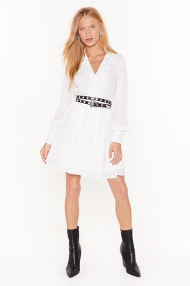 Nasty Gal Womens Shirt Your Feelings Embroidered Mini Dress - White