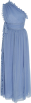 Rochas One-Shoulder Plisse Silk-Chiffon Gown