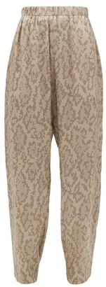 Edward Crutchley Snake-print Silk Trousers - Womens - Beige Multi
