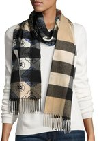 Burberry Floral Tile Half Mega Check Cashmere Scarf, Steel Blue/Tan