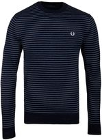 Fred Perry Dark Carbon Blue Textured Yarn Striped Crew Neck Sweater