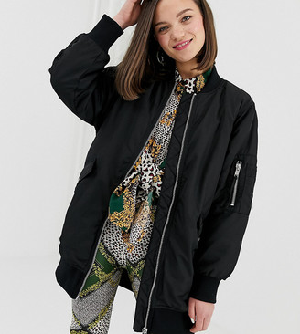 Monki longline bomber in black