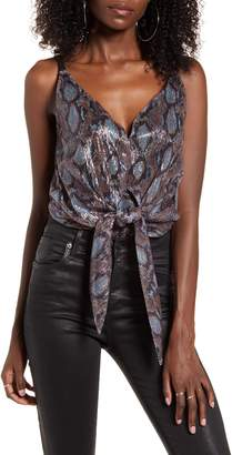 J.o.a. Printed Tie Front Cami Bodysuit
