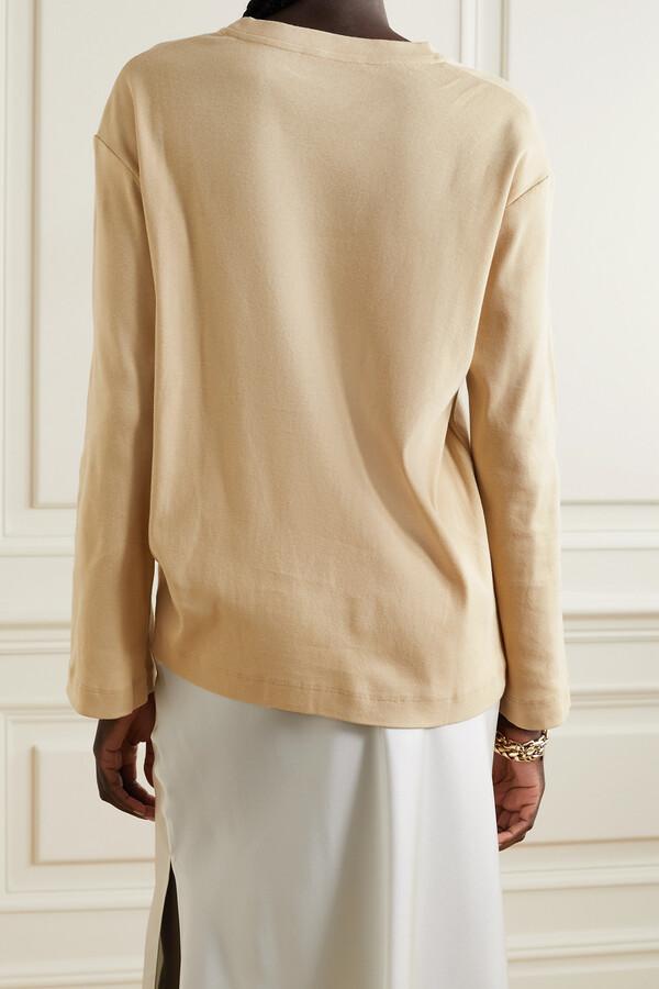 Thumbnail for your product : FRANCES DE LOURDES Elise Organic Cotton-jersey T-shirt - Neutrals